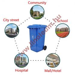 240 literes kerekes műanyag szemetes kuka – kék hulladéktároló