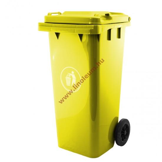 120 literes kerekes műanyag szemetes kuka – sárga hulladéktároló