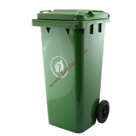 120 literes kerekes műanyag szemetes kuka – zöld hulladéktároló